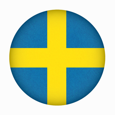 Sweden flag in circle shape, Scandinavian country.