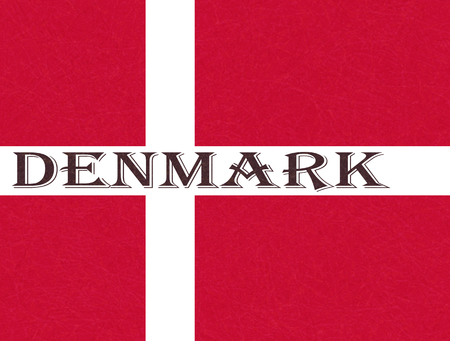 Flag of Denmark, Scandinavian northern country. Isolated Danish banner with scratched texture, grunge. Flat style, vector with noise, marble textured background. Horizontal orientation. Illustration