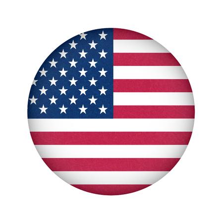 Grunge-Flagge der USA. Isolierte amerikanische Fahne mit zerkratzter Textur in Kreisform.