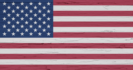Grunge flag of USA. Isolated American banner on white wooden Фото со стока