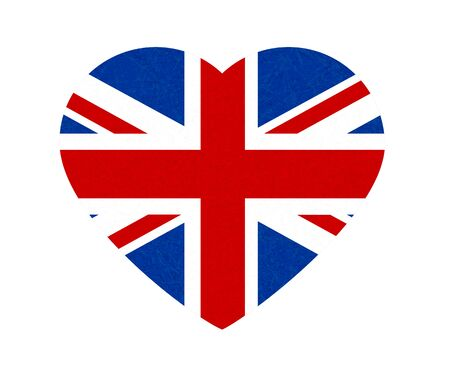 Grunge flag of Great Britain, UK. Isolated English banner with scratched texture in shape heart. Ilustrace