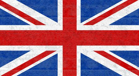 Grunge flag of Great Britain, UK. Isolated English banner with scratched texture on denim fabric.