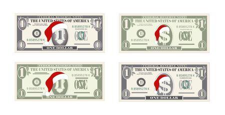 Vektorschablone ein Dollar-Banknoten mit rotem Hut des Weihnachtsmannes.