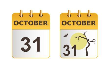 Halloween on icons of calendar in different versions. Date on calendar sheet October 31. Dry tree against yellow moon. Stylish, succinct vector illustration. Horizontal location.
