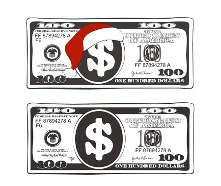 Set of 100 dollar in black and white colors.