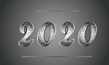 Elegant template of New Year 2020 in black and white tones with glitter. 矢量图像