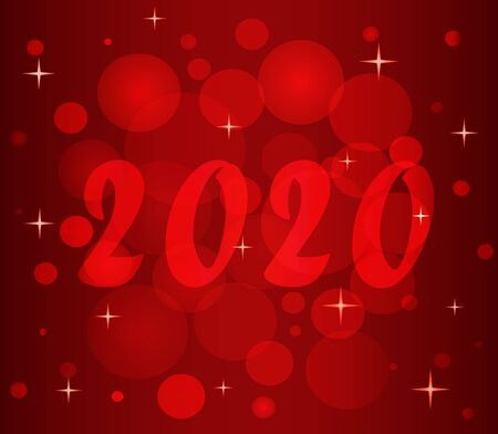 Elegant template of New Year 2020. Christmas magic illustration in red tones. Festive colorful vector pattern for packaging paper, wrapping packages, invitations, greeting card, backdrop, web design.