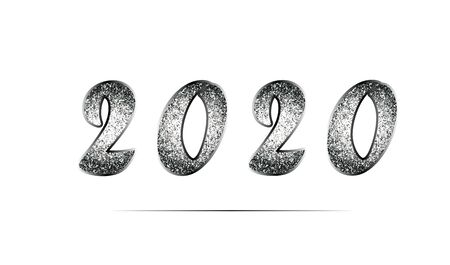 Elegant template of New Year 2020 in black and white tones with glitter. Shiny metal texture. Vector illustration for invitations, posters, promotion leaflet, greeting cards, web design. Isolated. 矢量图像