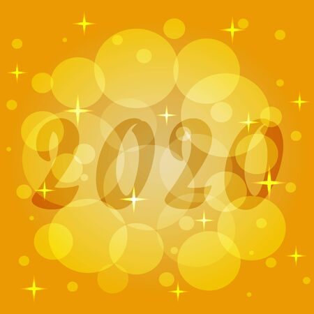 Elegant template of New Year 2020. Christmas magic of sunlight in yellow and orange. Festive vector pattern for packaging paper, wrapping packages, invitations, greeting card, backdrop, web design. 矢量图像