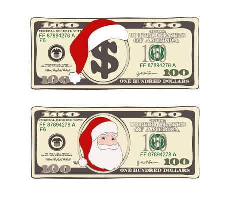 Design of 100 dollars with Santa Claus and red hat.