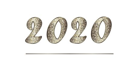 Banner with shiny numbers 2020 New Year 矢量图像