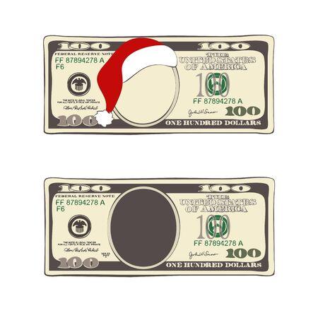 Design of 100 dollars with Santa Claus hat. 矢量图像