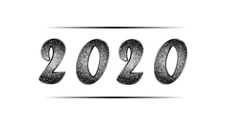 Christmas illustration in black and white tones with glitter. Banner with shiny nielloed numbers 2020. New Year vector for invitations, posters, greeting cards, web design. Isolated on white.