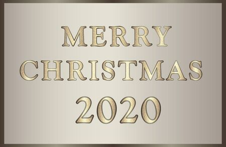 Elegant illustration Merry Christmas 2020 in golden-brown tones with glitter text. 矢量图像
