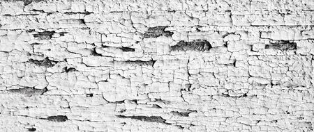 Close-up wood grunge board with pattern of peeling white paint. Old cracked timber. Background of painted wooden wall.