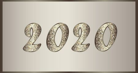 Christmas elegant illustration in golden-brown tones with glitter. Shiny numbers 2020 New Year. Vector for invitations, posters, promotion leaflet, banner, greeting cards, web design. Isolated. 免版税图像