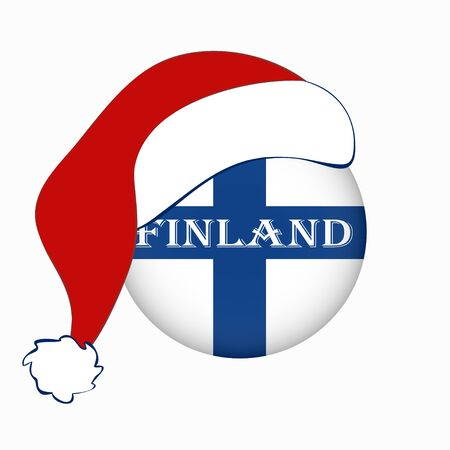 Christmas flag of Finland in circle shape, Helsinki. Isolated Finnish banner with Santa Claus hat Flat style. Square. Scandinavian northern country.