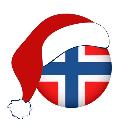 Norway flag in circle shape with Santa Claus hat. Scandinavian country.