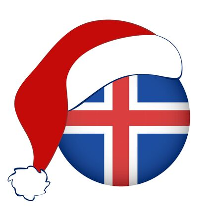 Christmas Iceland flag in circle shape. Isolated button of icelandic banner with Santa Claus hat. Flat style, vector illustration. Horizontal orientation. 矢量图像