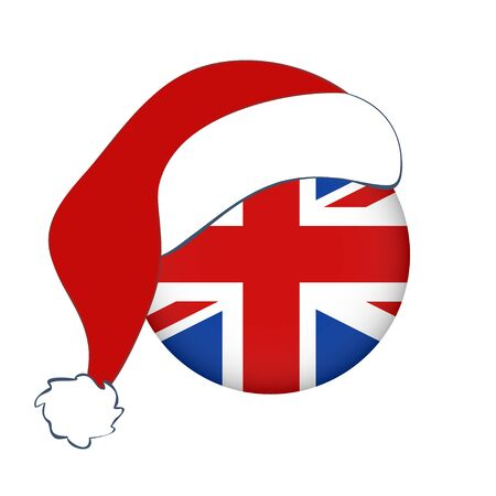 Isolated English banner, New Year. Christmas vector icon of flag of England with Santa Claus hat. Flag of Great Britain in circle, UK.
