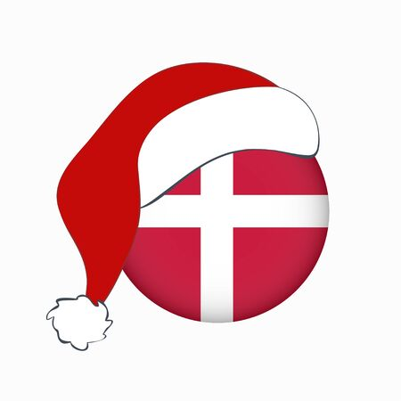 Christmas flag of Denmark in circle shape. Isolated Danish banner with Santa Claus hat. Flat style. Square orientation. Scandinavian northern country.  矢量图像