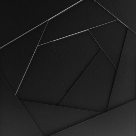 Illustration of abstract geometric background from sheets of thick black paper, cardboard. Suitable as design element, separate project for your project, cover for website. Square orientation.