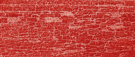 Illustration of wood grunge board with pattern of peeling red paint.