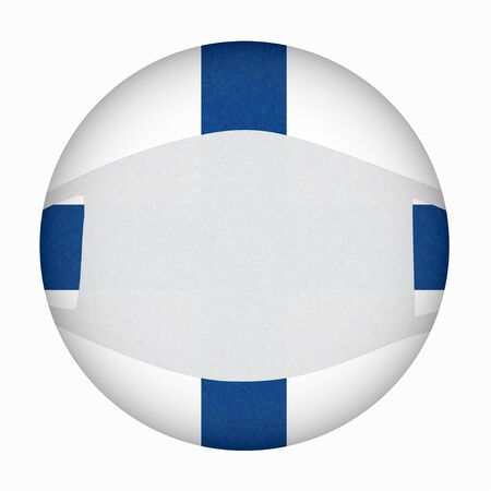 Medical, surgical mask on National symbol of country, protection from virus. Coronavirus, covid-19. Flag of Finland in circle shape. Isolated button of Finnish banner with scratched texture, grunge. 免版税图像 - 149154010