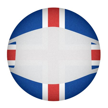 Medical, surgical mask on National symbol of country, protection from virus. Coronavirus, covid-19. Iceland flag in circle shape. Isolated button of Icelandic banner with scratched texture, grunge.