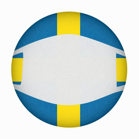 Medical, surgical mask on National symbol of country, protection from virus. Coronavirus, covid-19. Sweden flag in circle shape. Isolated button of Swedish banner with scratched texture, grunge.