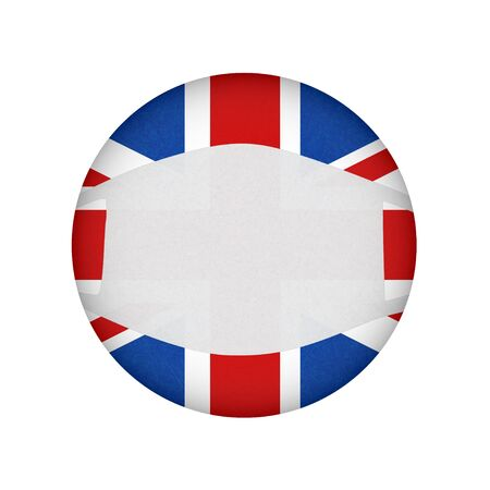 Medical, surgical mask on National symbol, protection from virus. Coronavirus, covid-19. British flag in circle shape. Isolated button of banner of England. Grunge flag of Great Britain, UK.