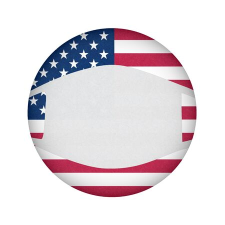 Medical, surgical mask on National symbol of America, protection from virus. Coronavirus, covid-19. Grunge flag of USA in circle shape. Isolated button of American banner. 免版税图像 - 144785817