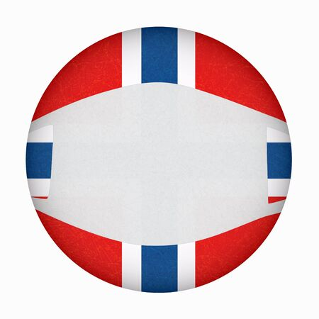 Medical, surgical mask on National symbol of country, protection from virus. Coronavirus, covid-19. Norway flag in circle shape. Isolated button of Norwegian banner with scratched texture, grunge. 免版税图像 - 144785819