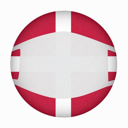 Medical, surgical mask on National symbol of country, protection from virus. Coronavirus, covid-19. Flag of Denmark in circle shape. Isolated button of Danish banner with scratched texture, grunge. 矢量图像
