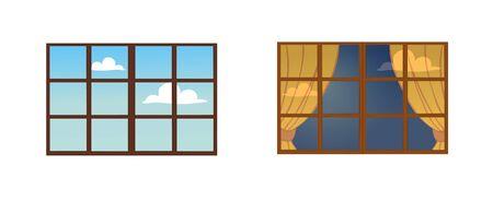 A set of window frames.