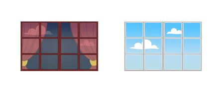 A set of window frames. Reflection of a Sunny day in the glass. The view from the window at the sky with clouds. Vector illustration.