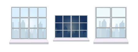 Collection of various window frames. The view from the window - different silhouettes of the city during the day. Suitable for home and office interior. Flat style vector illustration. Horizontal.