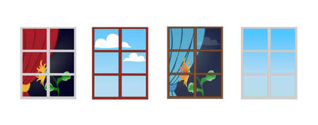 A set of window frames with a flower on the windowsill. Reflection of a Sunny day in the glass. The view from the window at the sky with clouds. Vector illustration.