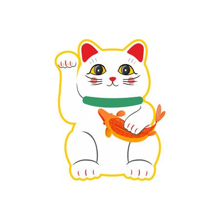 Plat style vecteur chat porte-bonheur japonais Maneki Neko. Isolé sur fond blanc.