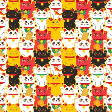 Gatto Maneki-neko. Modello senza cuciture con gatti fortunati disegnati a mano seduti. Cultura giapponese. Disegno scarabocchio. Illustrazione vettoriale Vettoriali