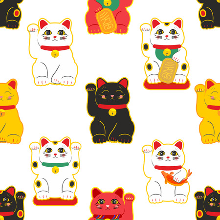 Maneki-neko cat. Seamless pattern with sitting hand drawn lucky cats. Japanese culture. Doodle drawing. Vector illustration