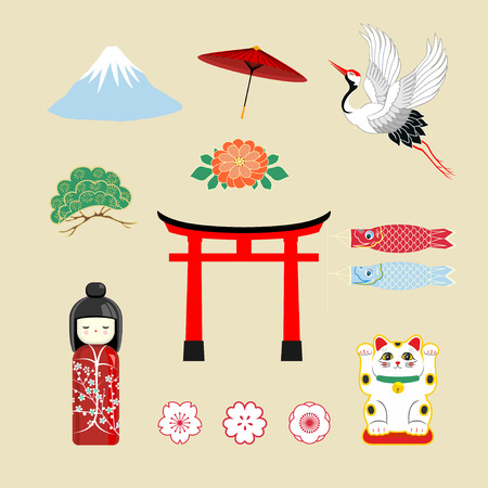 Japan travel elements, traditional culture symbols collection in screen printing, Japan travel in Japanese word placed in the middle.