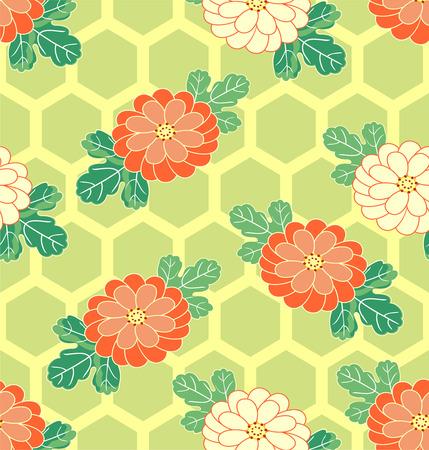 Seamless asian pattern with chrysanthemum. Vector oriental illustration.