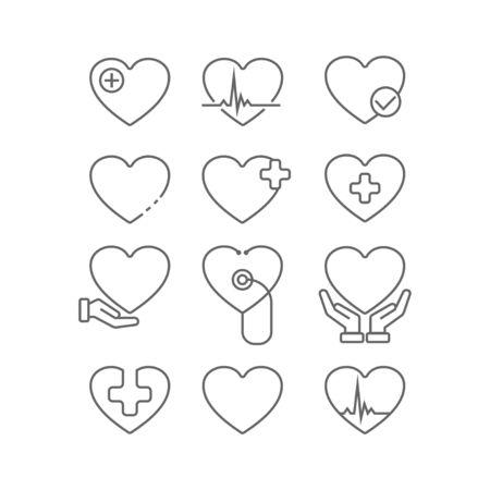 Heart icon. Health care. Vector illustration Design elements