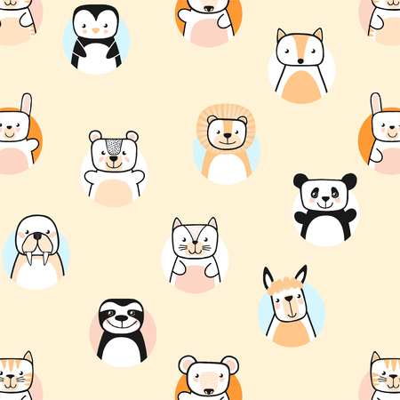 Set of cute animals. Vector illustration with cartoon characters.