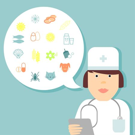 Set line icons of allergy. Medic, doctor and character.