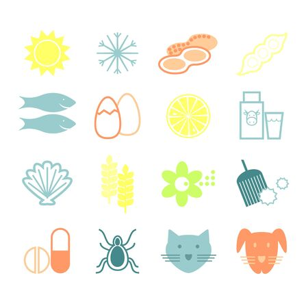 Set line icons of allergy.