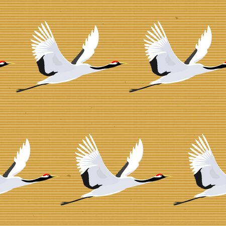 Seamless background, Wallpaper with Birds Flying. Crane. Eastern, Asian, Oriental. Vector. 写真素材 - 127968687