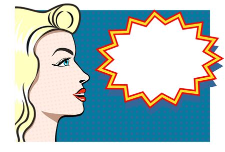 Beautiful blonde in pop art. Advertising poster. Vector.