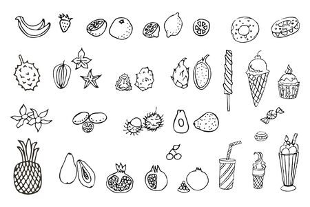 Set of exotic fruits. Doodle, sketch, hand drawing. Vector.